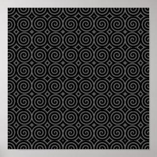 Stylish, black and white spiral design. poster