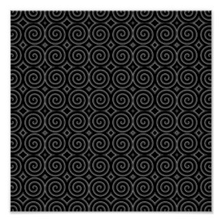 Stylish, black and white spiral design. posters