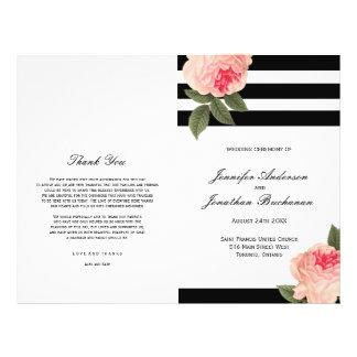 Stylish Black and White Stripes Wedding Programs