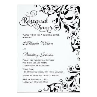 Stylish Black and White Swirls Rehearsal Dinner 5x7 Paper Invitation Card