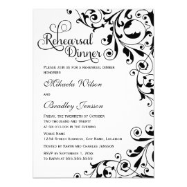 Stylish Black and White Swirls Rehearsal Dinner Card