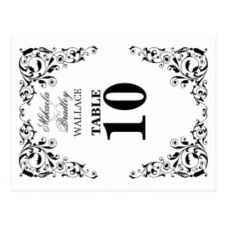 Stylish Black and White Swirls Table Number Card