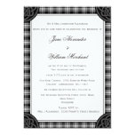 Stylish Black and White Tartan Plaid Wedding Invitation