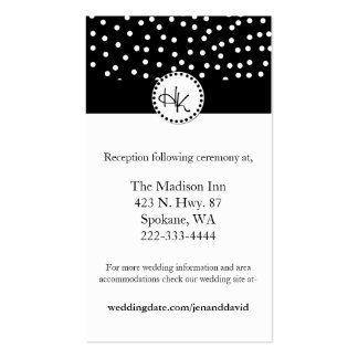 Stylish Black and White Wedding enclosure cards Business Cards