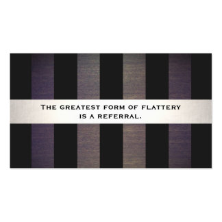 Stylish Black and Wood Striped Referral Card Double-Sided Standard Business Cards (Pack Of 100)