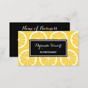 Yellow business cards zazzle stylish black and yellow lemon slices nutritionist business card colourmoves