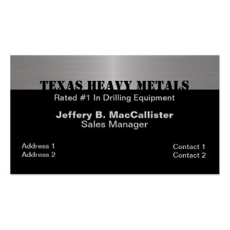 Stylish Black & Brushed Aluminum Look Double-Sided Standard Business Cards (Pack Of 100)