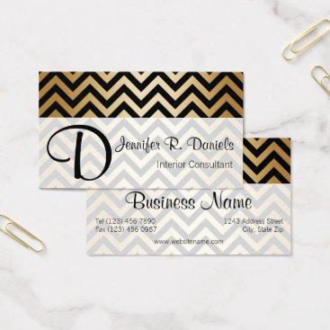 Professional Business Stylish Black Faux Gold Chevron Zigzag Pattern Business Card