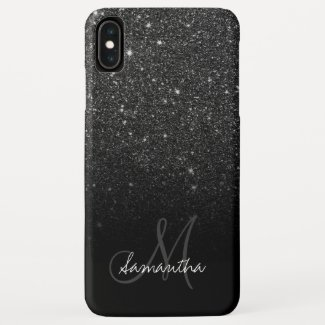 Stylish black glitter ombre block monogram Case-Mate iPhone case