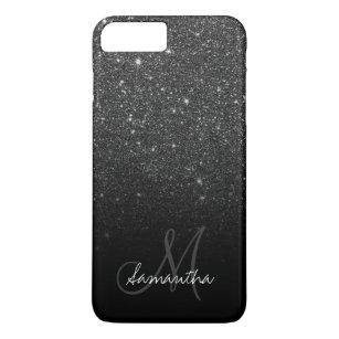 f2872f766b0c Stylish black glitter ombre block monogram iPhone 8 plus/7 plus case