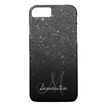 Stylish black glitter ombre block personalized iPhone 8/7 case