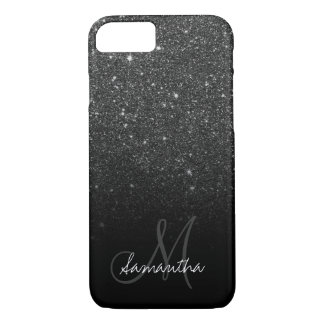 Stylish black glitter ombre block personalized iPhone 7 case