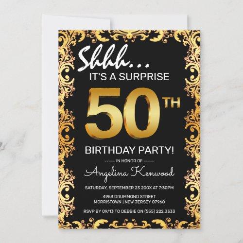 Stylish Black  Gold 50th Surprise Birthday Party Invitation