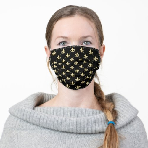 Stylish Black Gold Fleur De Lis Cloth Face Mask