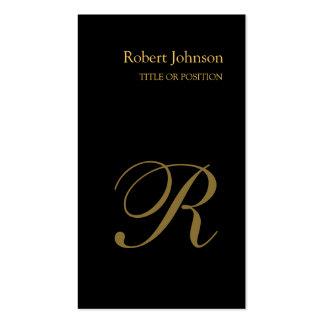 Stylish Black Gold Monogram Business Card