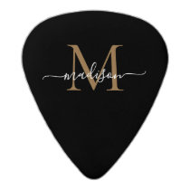 Stylish Black Gold Monogram Elegant Script Name Acetal Guitar Pick