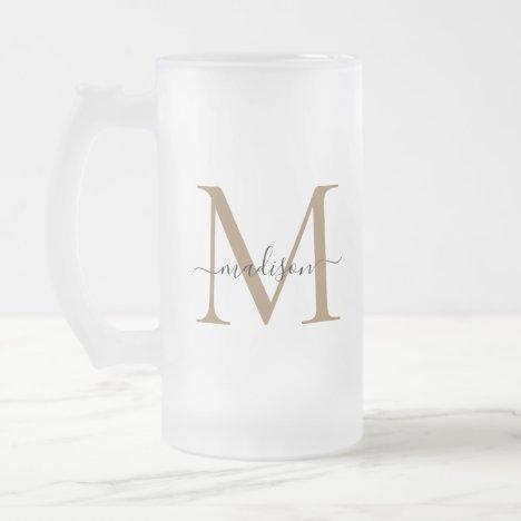 Stylish Black Gold Monogram Elegant Script Name Frosted Glass Beer Mug