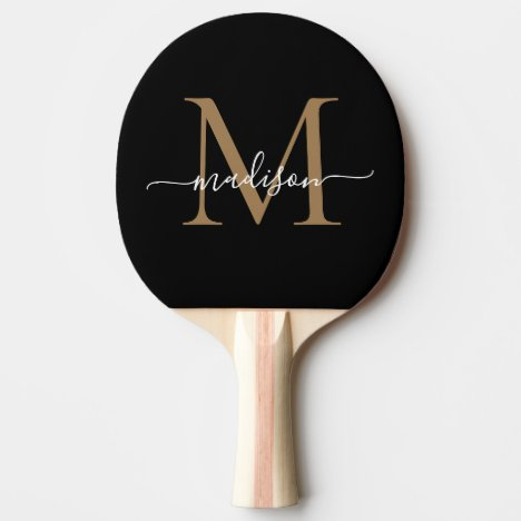 Stylish Black Gold Monogram Elegant Script Name Ping Pong Paddle