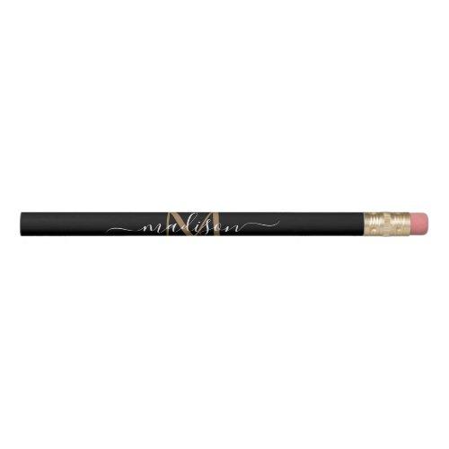Stylish Black Gold Monogram Feminine Script Name Pencil