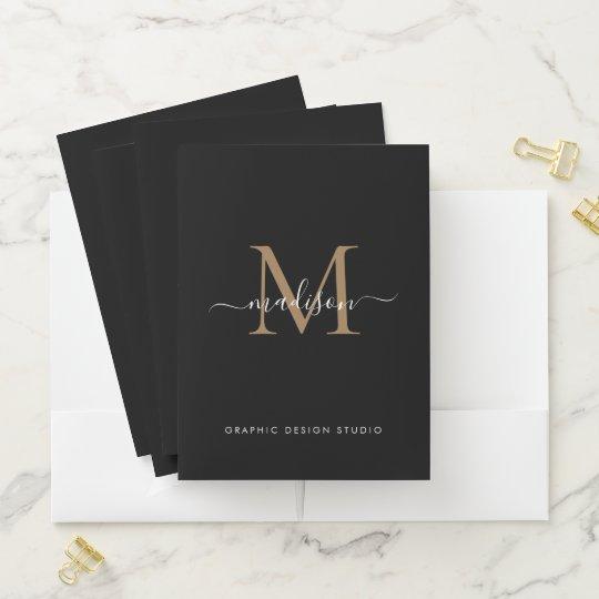 Stylish Black Gold Monogram Initial Script Name Pocket Folder