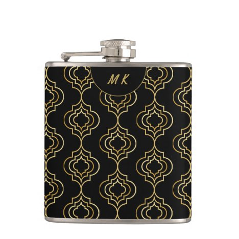 Stylish black gold Moroccan monogram Flask