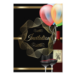 Stylish Black & Gold Party Event Template Card