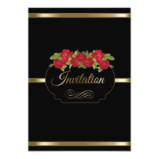 Stylish Black & Gold & Red Roses Party Template Card