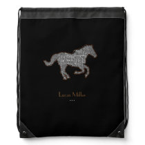 stylish black horse personalized drawstring bag