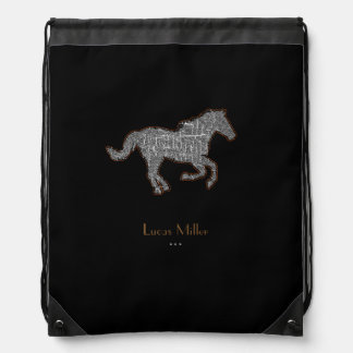 stylish black horse personalized drawstring bag