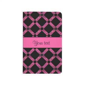 Stylish Black & Hot Pink Glitter Squares Journal