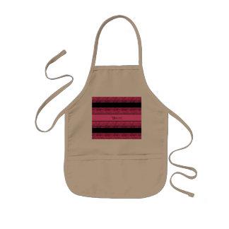Stylish Black & Hot Pink Glitter Stripes Kids' Apron