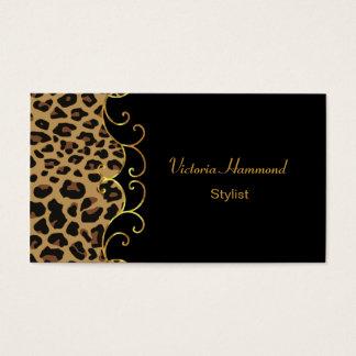 Stylish Black & Jaguar Print Business Card