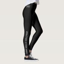 stylish black legging with full name & initials,