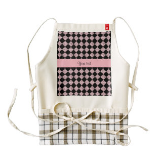 Stylish Black & Lilac Glitter Checkers Zazzle HEART Apron