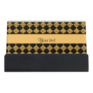 Stylish glitter checker squares patterns business card holders stylish black orange glitter checkers desk business card holder colourmoves