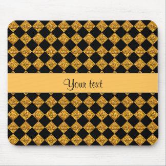 Stylish Black & Orange Glitter Checkers Mouse Pad