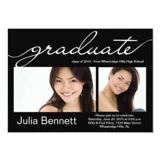 Stylish black photo graduation party invitation