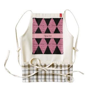 Stylish Black & Pink Glitter Diamonds Zazzle HEART Apron