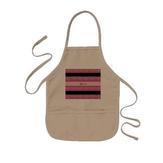Stylish Black & Pink Glitter Stripes Kids' Apron