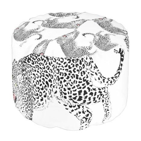 Stylish Black & Pink Leopard Animal White Design Pouf