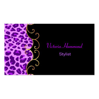 Stylish Black & Purple Jaguar Print Business Card
