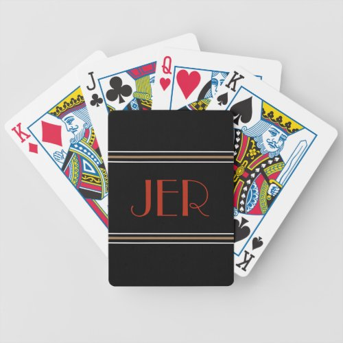 Stylish Black Red Designer Monogrammed  Initials Bicycle Playing Cards