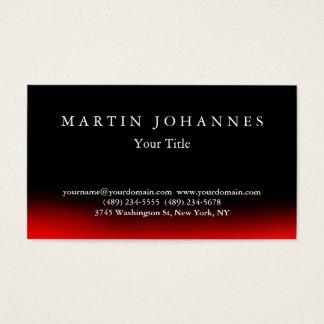 Stylish Black Red Elegant Plain Business Card