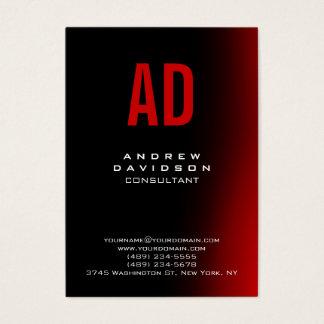 Stylish Black Red Monogram Chic Business Card