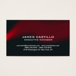 Stylish Black Red Waves Modern Professional Business Card