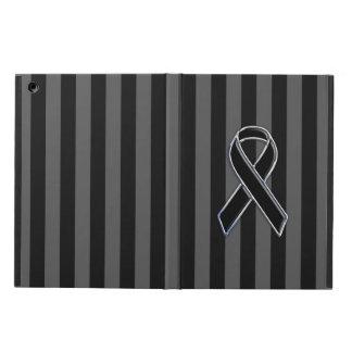 Stylish Black Ribbon Awareness Vertical Stripes Case For iPad Air
