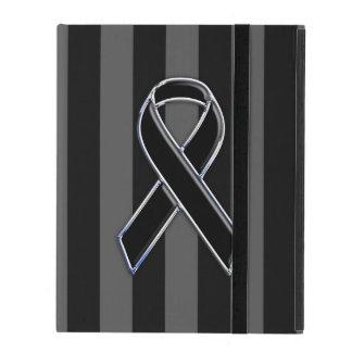 Stylish Black Ribbon Awareness Vertical Stripes iPad Covers