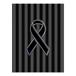 Stylish Black Ribbon Awareness Vertical Stripes Poster