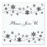 "Stylish Black Snowflakes Invitation Template 5.25"" Square Invitation Card"