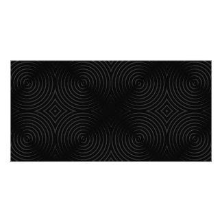 Stylish black spirals design personalized photo card